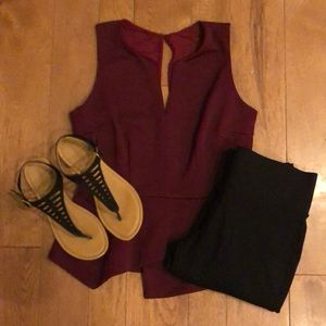 Xoxo burgundy medium peplum tank top
